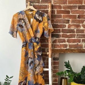 Yellow flower maxi dress